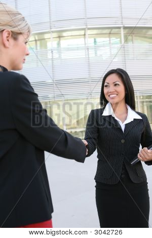 Asian Woman Handshake