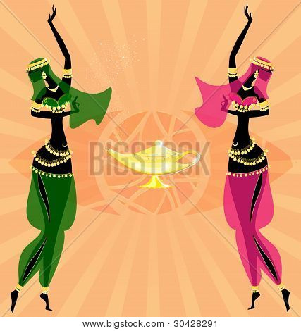 two oriental dancing girls