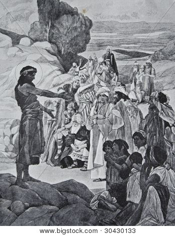 "F.Urban - ""Preaching of John the Baptist."" Illustration from ""Niva"" magazine, publishing house A.F. Marx, St. Petersburg, Russia, 1913"