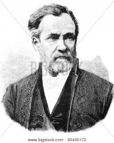 "Louis Pasteur - French microbiologist and chemist, member of the French Academy (1881).  Illustration from ""Niva"" magazine, publishing house A.F. Marx, St. Petersburg, Russia, 1913"