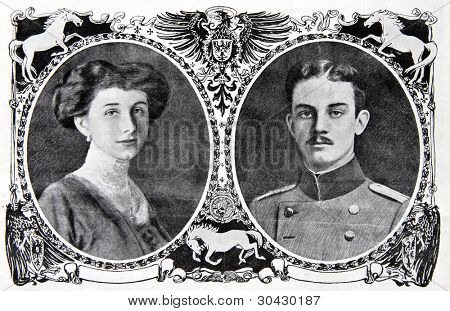 Princess Victoria Louise of Prussia and the Duke Ernest. Illustration from