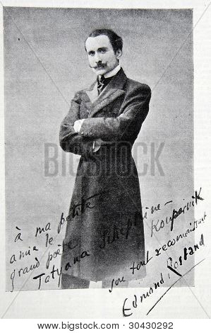 """Portrait and autograph by Edmond Eugene Alexis Rostand - French poet.  Illustration from """"Niva"""" magazine, publishing house A.F. Marx, St. Petersburg, Russia, 1913"""
