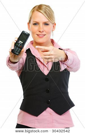 Woman Employee Pointing On Cell Phone