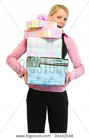 Woman Employee With Stack Of Present Boxes