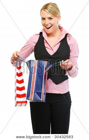 Surprised Woman Looking In Shopping Bag