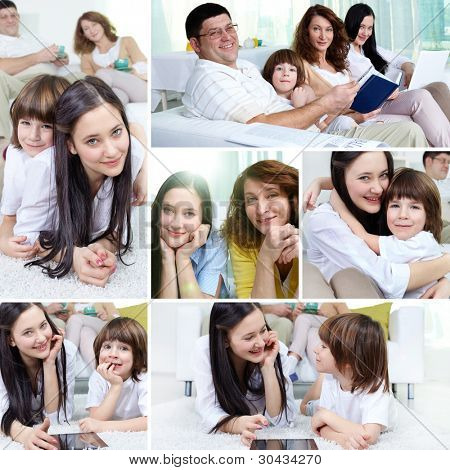 Collage of a happy family of four spending time together at home