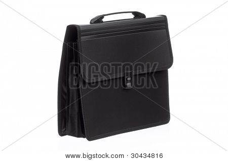 Black business briefcase isolated on white background