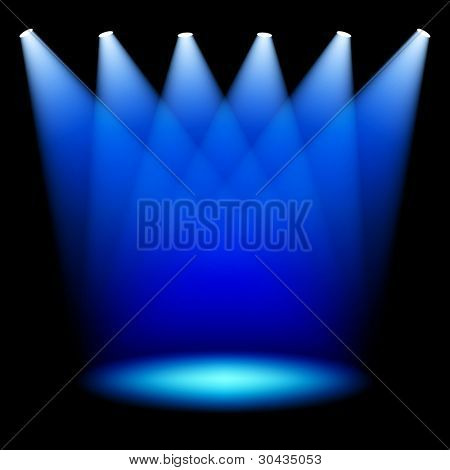 Stage spotlights. Vector.