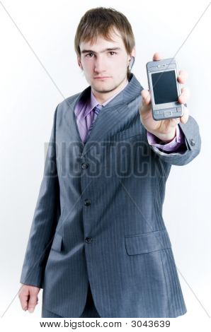 Businessman Showing Phone