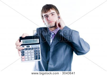 Businessman Showing Calculator With 1000+