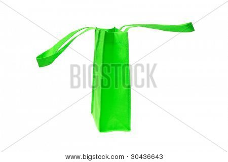 Side View of Green Shopping Bag with Handle on White Background
