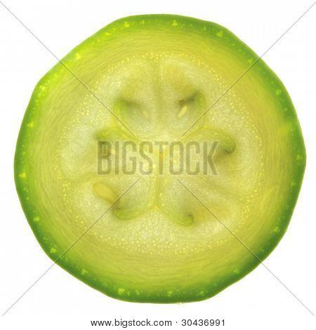 Scheibe Zucchini oder Zucchini isoliert auf weiss / Gegenlicht