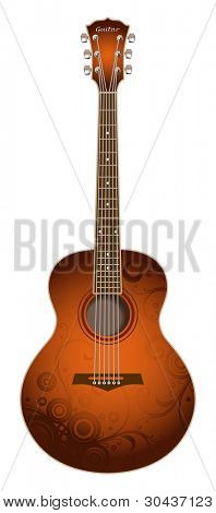 Vector drawing of acoustic guitar