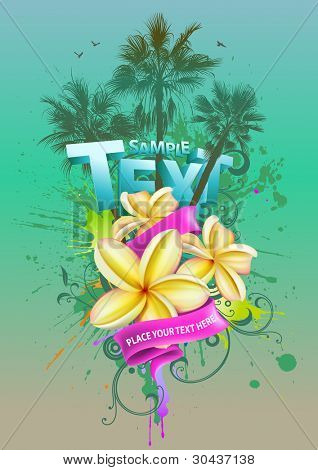 Tropical background with plumeria flowers and palm trees