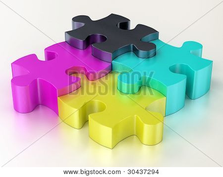 Cmyk Jigsaw Puzzle Pieces
