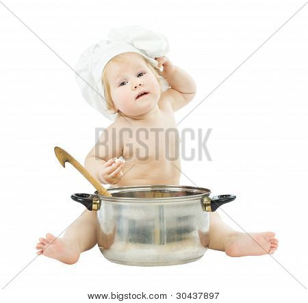 Baby Cook In Chef Hat With Big Pot, Holding Ladle.