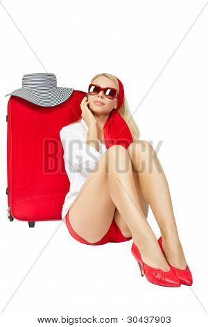 Beautiful Woman Sitting Next To Red Suitcase And Talking On Phone Vacation Suitcase Talking On Phone