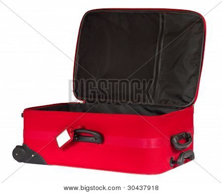 Open Red Suitcase With Blank Identification Tag