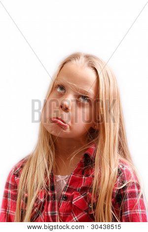 Little Girl Thinking Sad Thinks