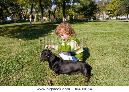 The little girl walks with a dog (dachshund) in park.