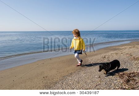 The little girl walks at the sea with a dog.