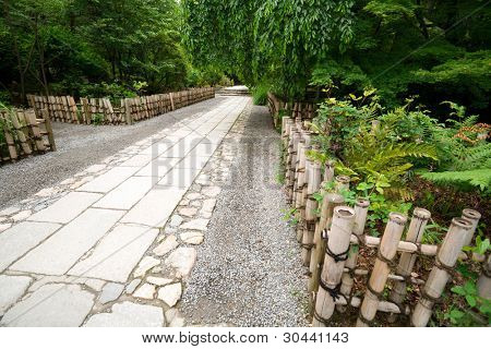 Footpath from a natural stone in park