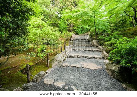 Old stone staircase in park.Kyoto.Japan.