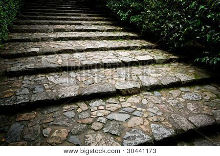 Old stone staircase in a park.Kyoto.Japan