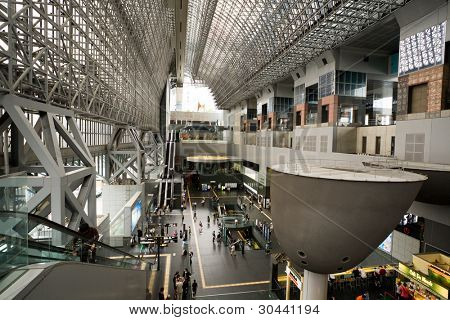 A modern architectural steel structure of Kyoto station.Japan