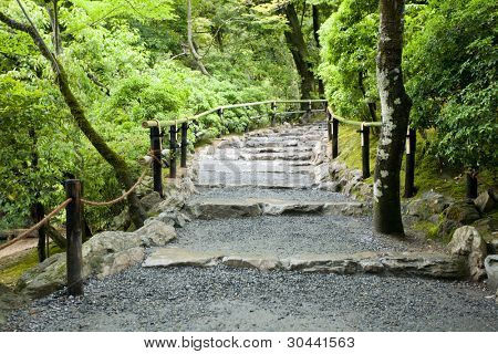 Staircase in park.Kyoto.Japan.