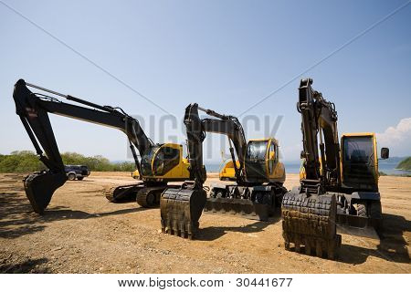 excavators on a working platform
