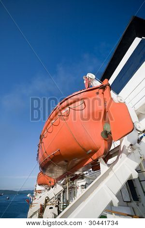 lifeboat on ocean liner