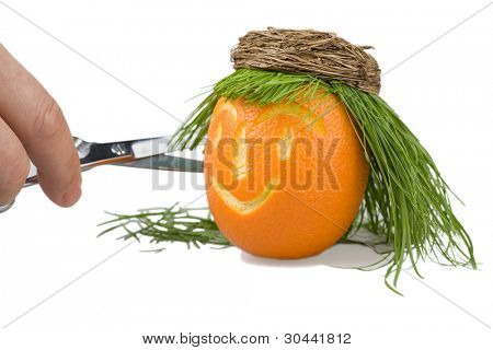 Head of a doll is made of an orange, a natural grass and a basket.Abstract hair salon.Scissors on a grass.