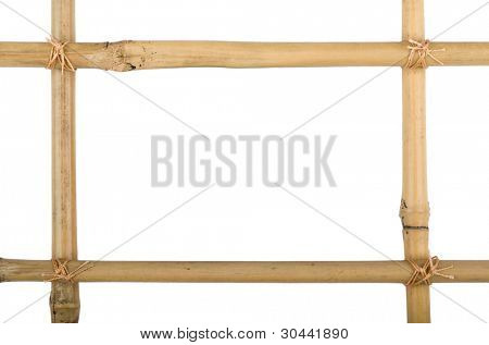 Frame from bamboo sticks of a isolated on white background.