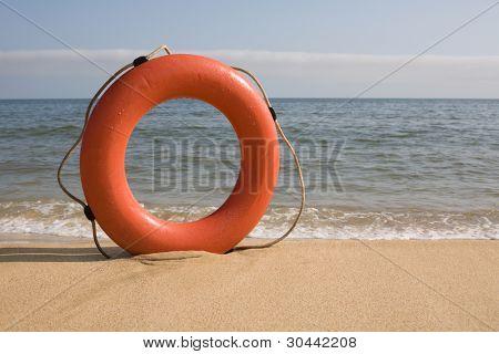 Life belt on a beach