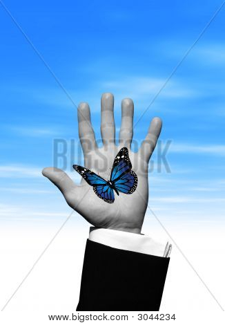 Blue Butterfly Hand