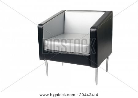 Gray-black armchair in a modern style isolated on white.