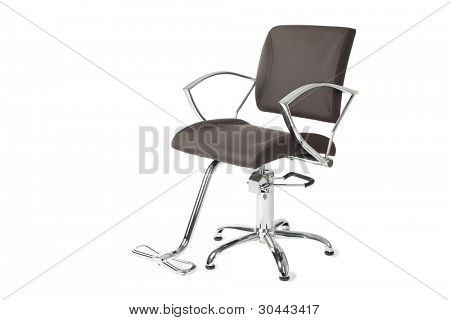 Contemporary barber chair isolated on white.