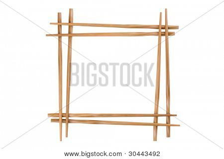 Decorative frame of bamboo chopsticks isolated on a white.
