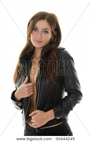 Beautiful girl in leather jacket. Isolated on white.