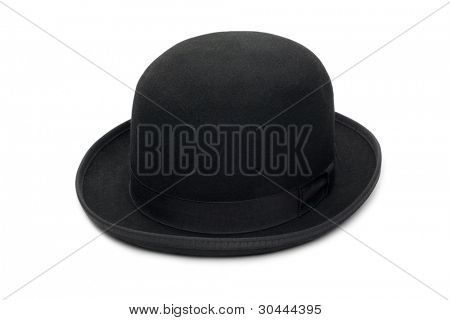 Stylish black bowler hat made of felt. Isolated on a white background.