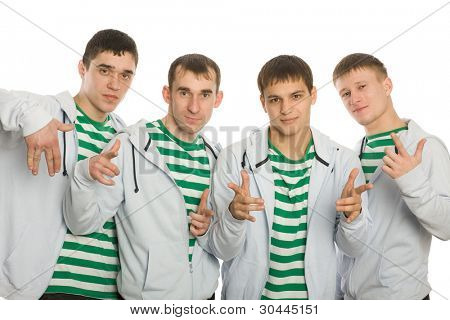 Team of young guys gesticulating fingers.
