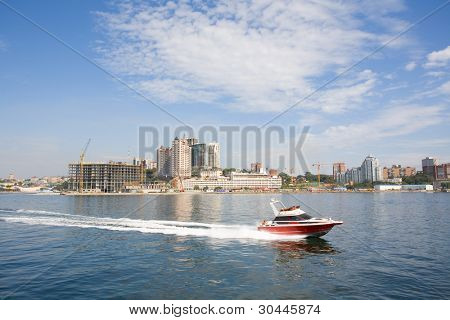 View on Vladivostok from the sea. Russia.
