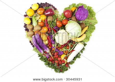 Heart Made Of Fruits And Vegetables