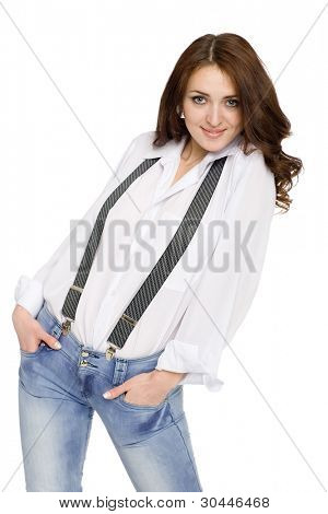 Beautiful young woman in jeans with suspenders.