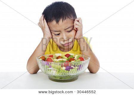 Lazy Child To Eat Salad