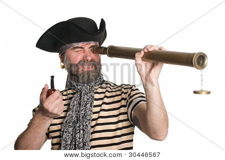 Pirate looks through a telescope and smokes a pipe.