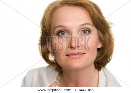 Portrait of middle aged woman close up.
