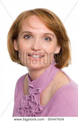 Beautiful smiling middle aged woman.