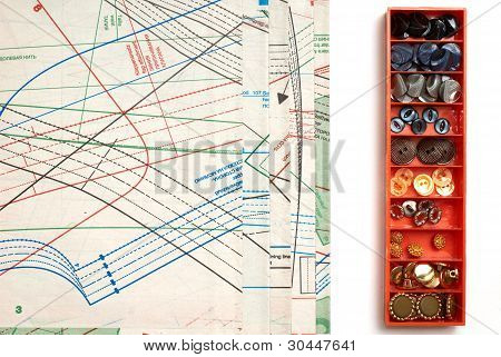 Sewing Pattern And Box Of Buttons